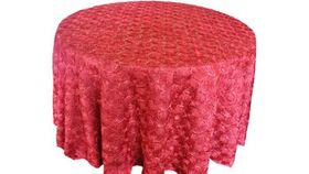 """Image of a Apple Red Round 120"""" Rosette Satin Tabecloths"""