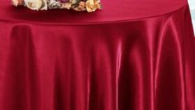 """Image of a Apple Red Round 120"""" Satin Tabecloths"""