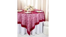 Image of a Apple Red Square 85in Embroidered Organza Overlays