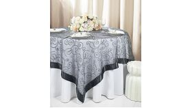 Image of a Black Square 85in Embroidered Organza Overlays