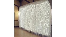 Image of a Curtain Lights, 50', WW, ends in bulb, white wire, S4 coupling system