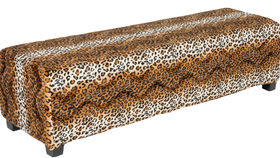 Image of a Minotti Straight Bench Slipcover - Leopard