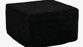 Image of a High Back Ottoman Slipcover - Black Velvet