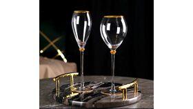 Image of a Glassware - princess glass flute gold rim