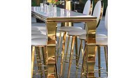Image of a Ellie Barstools gold w/ whitw cushions