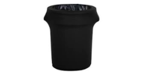 Image of a Trash Can Spandex Cover Black