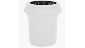 Image of a Trash Can Spandex Cover White
