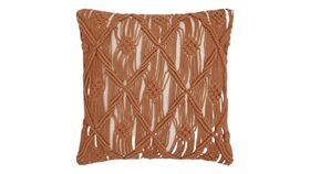 Image of a Copper Macrame Pillow