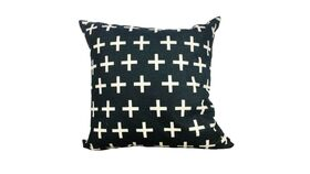 Image of a Black with White Crosses Pillow