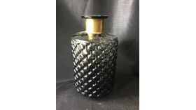 """Image of a 10.5"""" Black Detailed Vase with Gold Band"""
