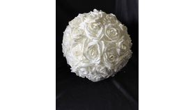"Image of a 12"" White Glittered Rose Ball"