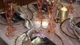 Image of a Glassware - Blush wine glass w/ gold rim