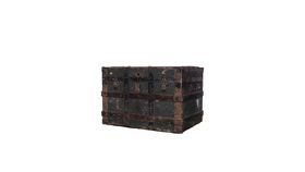 Image of a Large Wood & Leather Trunk Navy