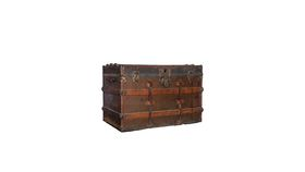 Image of a Large Wood & Leather Trunk Red Orange