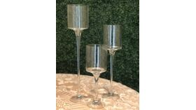 Image of a Candle Holder - Tall Pedestal Clear Glass Trio