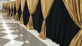 Image of a 10' x 10' Gold Sequin Drape Backdrop