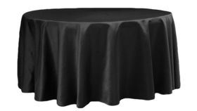 """Image of a 120"""" Tablecloth - Lamour Satin - Black"""