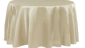 """Image of a 120"""" Round Tablecloth - Satin - Champagne"""