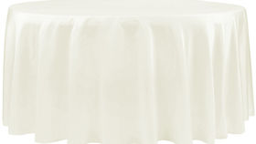 """Image of a 120"""" Tablecloth - Lamour Satin - Ivory"""