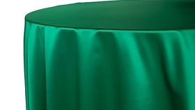 """Image of a 120"""" Tablecloth - Lamour Satin - Emerald Green"""