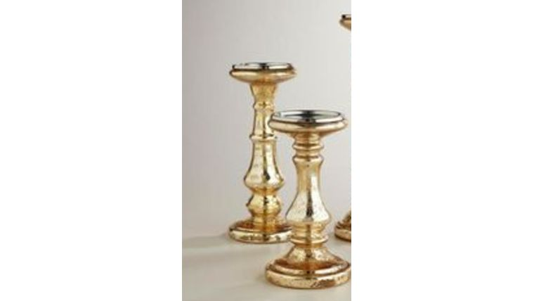 "Picture of a 10"" Mercury Gold Pillar Candle Holder"