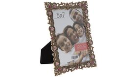 "Image of a 5"" x 7"" Gold Scroll Metal Frame - Table Number"