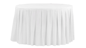 Image of a 14 ft White Table Skirt