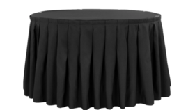 Image of a 14 ft Black Table Skirt