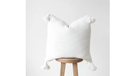 Image of a Bianca Woven White Pillow With Tassels