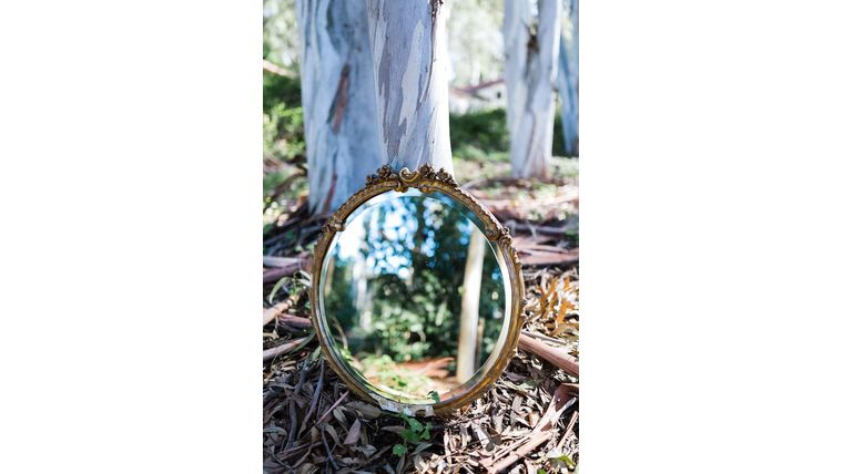 Picture of a Charleston Round Gold Mirror