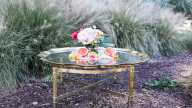 Image of a Adrienne Scalloped-Edge Brass Coffee Table