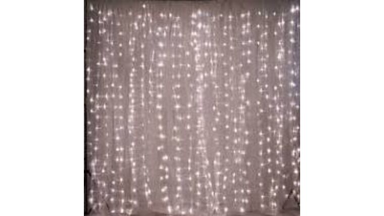 Picture of a 10' Tall 18' Wide Drape White Sheer with Lights