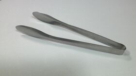 "Image of a 11 3/4"" Hammered Stainless Steel Vintage Tongs"