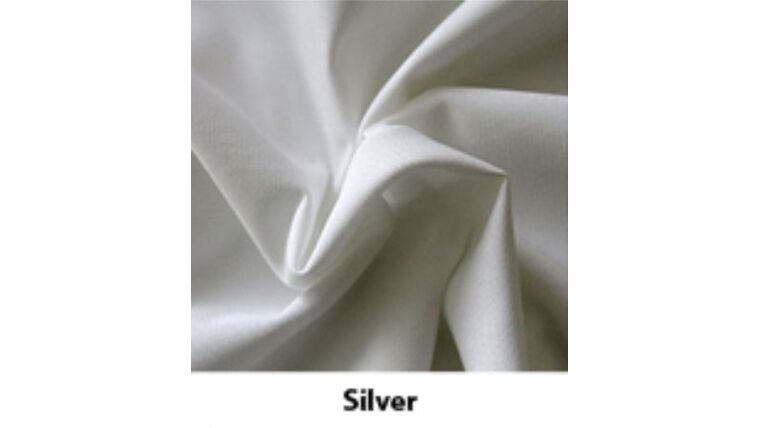 Picture of a 10' Tall 5' Wide Drape Silver Polyester Premier