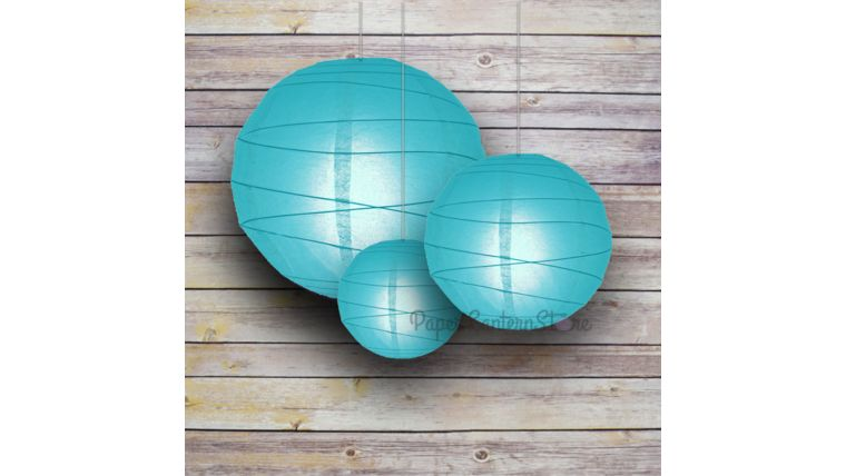 """Picture of a 14"""" Turquoise Paper Lantern"""