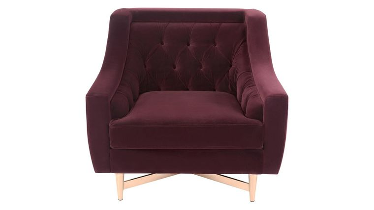 Picture of a AUBERGINE TUFTED BARREL CHAIR