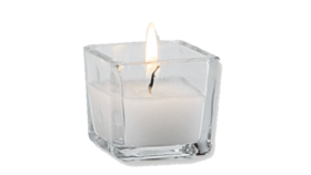 Image of a Clear Square Votive with Wax