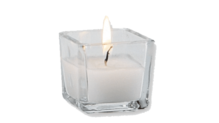 Picture of a Clear Square Votive with Wax