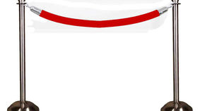 Image of a Stanchion Chrome Pair with Red Rope