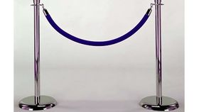 Image of a Stanchion Chrome Pair with Blue Rope