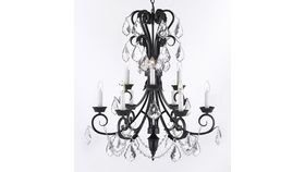 Image of a MEDIUM - BLACK IRON AND CRYSTAL CHANDELIER