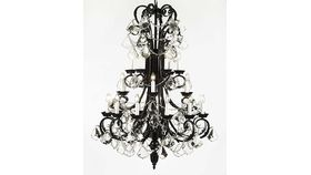 Image of a LARGE - BLACK IRON AND CRYSTAL CHANDELIER