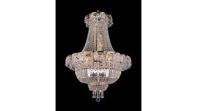 Image of a MEDIUM - EMPIRE GOLD AND CRYSTAL CHANDELIER