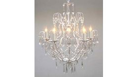 Image of a MEDIUM - EUOROPEAN WHITE IRON AND CRYSTAL CHANDELIER
