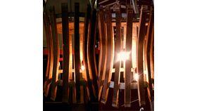Image of a LARGE - WINE BARREL STAVE CHANDELIER