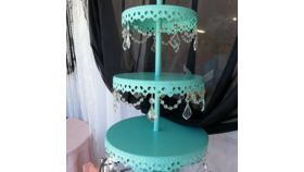 Image of a Turquoise With Crystals Cupcake Stand