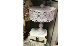 Image of a Pink Cake Stand With Cover