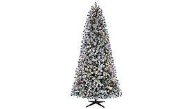 Image of a 9 ft. Pre-Lit LED Flocked Lexington Artificial Christmas Tree