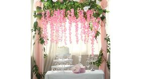 "Image of a 44"" Artificial Wisteria Vine Ratta Silk Hanging Garland Wedding Decor - Pink"