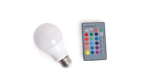 Image of a 5 Watt Egg Shaped LED RGB Color changing Bulb w/ remote control